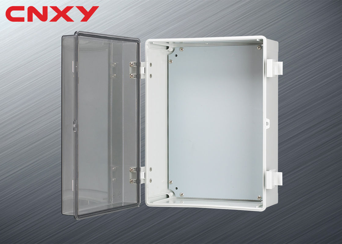 Plastic Hinged Electrical Distribution Box Flame Resistant With Clear Lid
